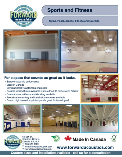 Forward Acoustics Gyms, Pools and Fitness Application Sheet